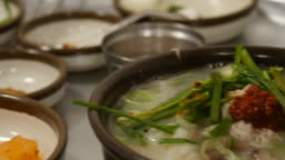 Korean pork soup in a restaurant