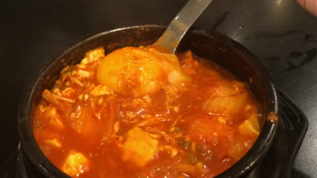 korean soup , kim chi jjigae army stew - anchovy stock videos & royalty-free footage
