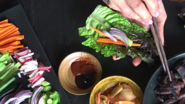 Korean Style Bulgogi Short Rib Lettuce Wrap with Kimchee