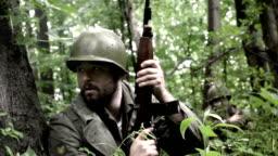 Korean War Action Footage - American Infantryman hiding in jungles of North Korea