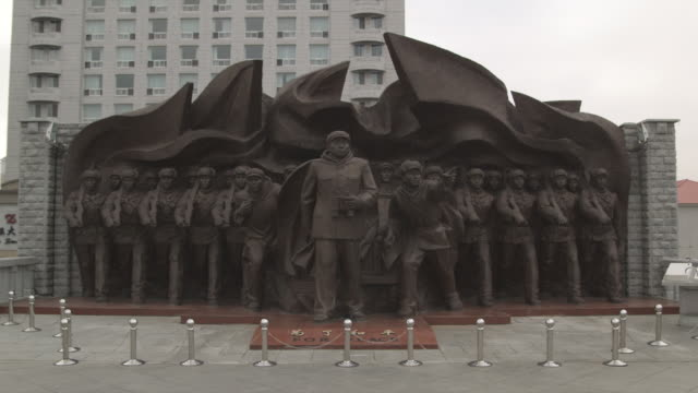 ms korean war monument dedicated to chinese war heroes of korean war (1950-1953) / dandong, china - korean war stock videos and b-roll footage