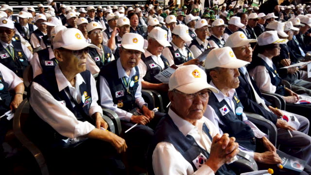 korean war veterans attend the ceremony to mark the 69th anniversary of the korean war on june 25 2019 in seoul south korea over 66000 south koreans... - korean war stock videos and b-roll footage