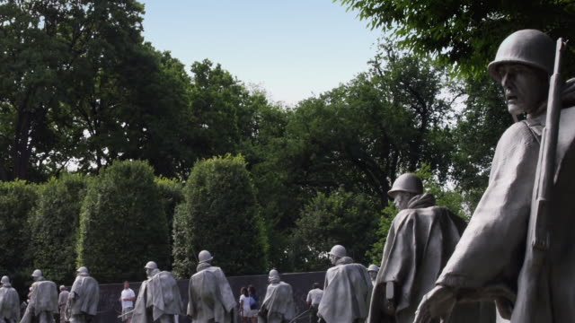 zo korean war veterans memorial, washington, dc - 戦争記念碑点の映像素材/bロール