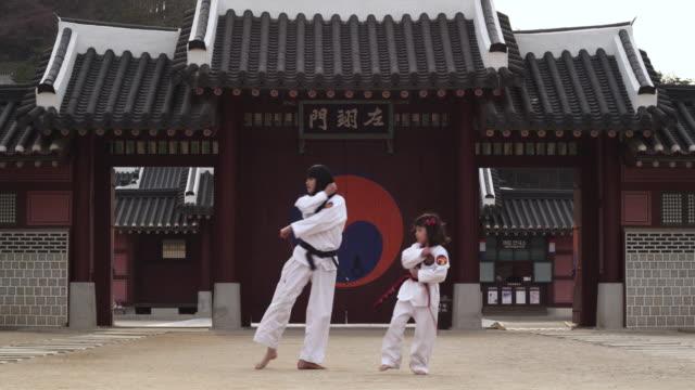 MS Korean Woman and girl performing taekwondo demonstration  / Kyungkido, Bucheon, South Korea