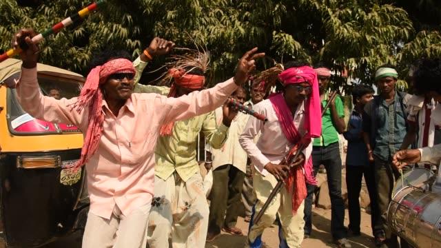 Korku Tribals perform Ghugru Dance, Maharashtra, India.