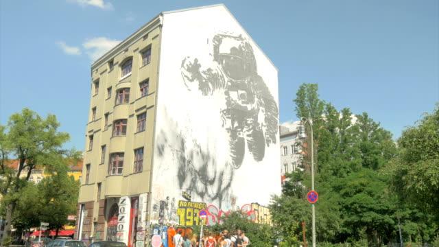 kosmonaut mural, - artistic product stock videos & royalty-free footage