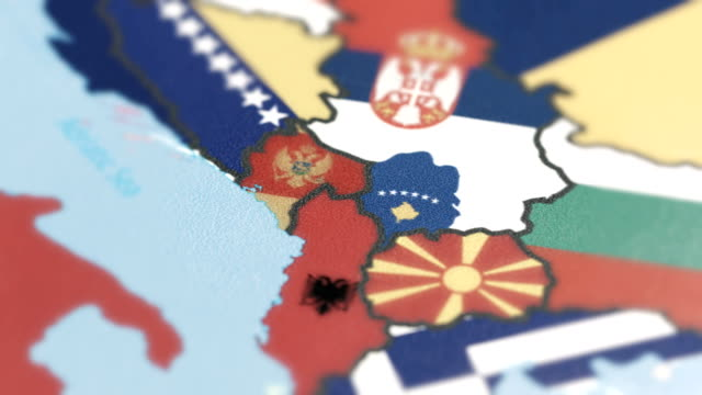 kosova, montenegro with national flag on world map - albania stock videos & royalty-free footage