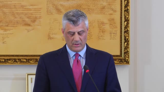 kosovan president hashim thaci holds a press conference on the process of kosovo security force transformation into army in pristina kosovo on march... - pristina stock videos and b-roll footage