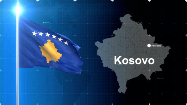 kosovo 3D Flag with map + Green screen