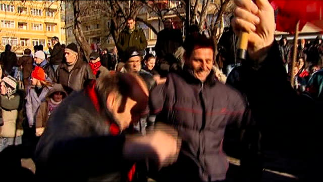 Kosovo declares independence from Serbia KOSOVO Pristina DAY Albanian flags being held up in the air People dancing in street during Kosovo...