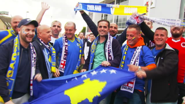 kosovo fans outside st mary's stadium before their euro 2020 qualifying match against england - international team soccer stock videos & royalty-free footage