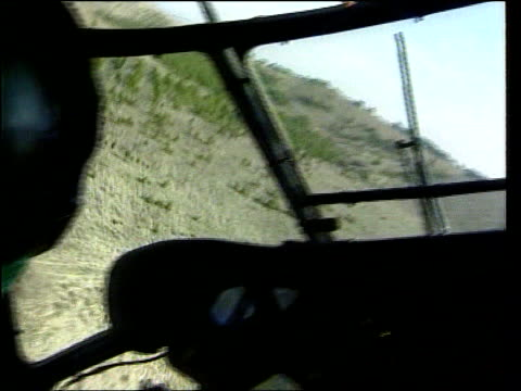 NATO Air Strikes/Serbian Invasion Into Albania LIB Pilots as another helicopter flies along in front AIR VIEW Tanks troops on ground