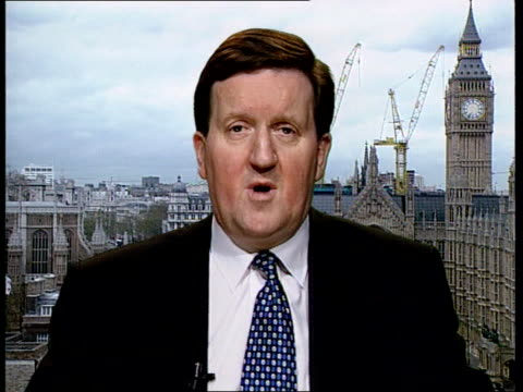 stockvideo's en b-roll-footage met nato bombing/ceasefire offer robertson interview itn england london westminster george robertson mp interview sot ceasefire offer is a cynical ploy /... - kosovo