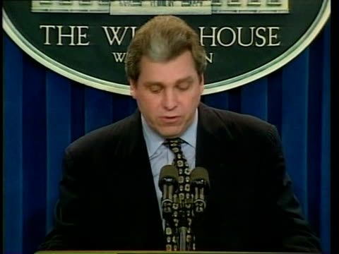 nato bombing/ceasefire offer serbia pool usa washington white house joe lockhart press conference sot talks of what serbs must do to end bombings /... - ceasefire stock videos and b-roll footage