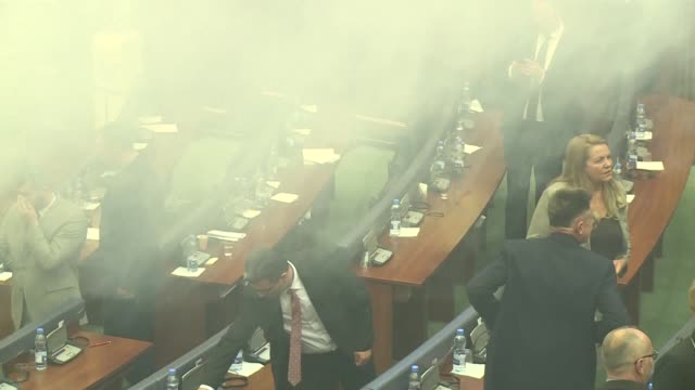 Kosovo parliament work was interrupted by tear gas Wednesday just as the lawmakers were to vote on a key border deal with Montenegro a top criteria...