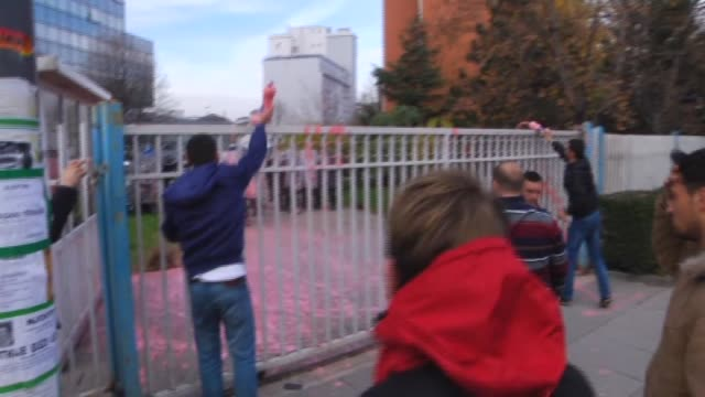 kosovo police fired tear gas to disperse about 150 protesters outside the government building in pristina on wednesday as a crisis deepens over... - pristina stock videos and b-roll footage