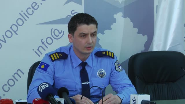 Kosovo police spokesperson Agron Borovci speaks at a press conference after a threatening letter allegedly signed by Daesh was found at the Hasan...