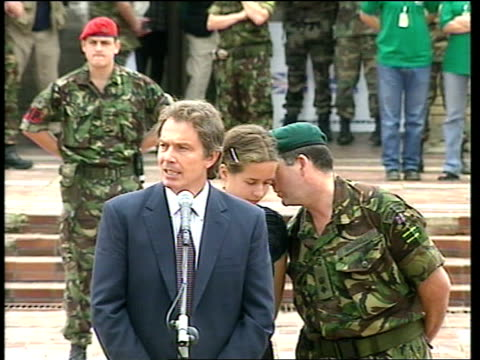 Politics Blair Visit APTN Tony Blair speech SOT Proud to be here in Pristina in Kosovo/ proud to see you here back in your homeland where you belong/...