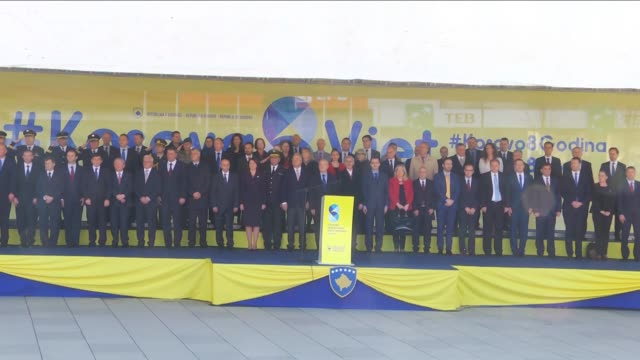 Kosovo President Atifete Jahjaga and Prime Minister Isa Mustafa give a speech during a ceremony marking the 8th anniversary of Kosovo's independence...