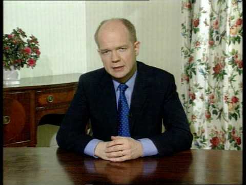 Serbia NATO Attacks Day Four POOL William Hague MP TV address SOT We are being assured that this difficult decision has been taken by government and...