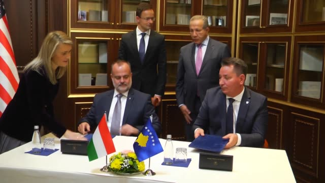 Kosovo's Foreign Minister Behgjet Pacolli meets with Hungarian Foreign Affairs and Trade Minister Peter ​​Szijjarto in Pristina Kosovo on November 15...