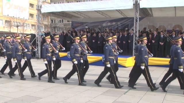 Kosovo's President Hashim Taci Parliament Speaker Kadri Veseli Prime Minister Ramush Haradinaj Albanian Prime Minister Edi Rama and Turkey's former...