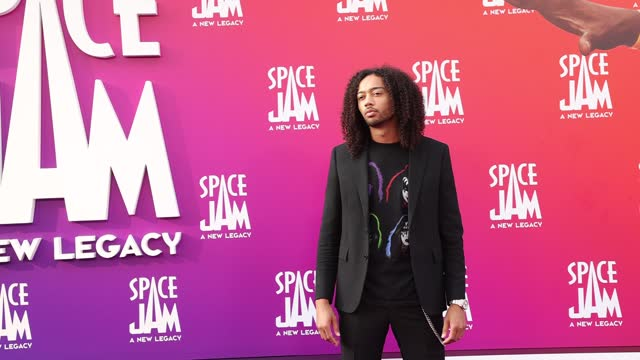 """kossisko attends the premiere of warner bros """"space jam: a new legacy"""" at regal live on july 12, 2021 in los angeles, california. - space jam stock videos & royalty-free footage"""