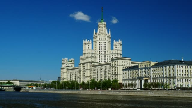 kotelnicheskaya embankment building - river moscva stock videos & royalty-free footage