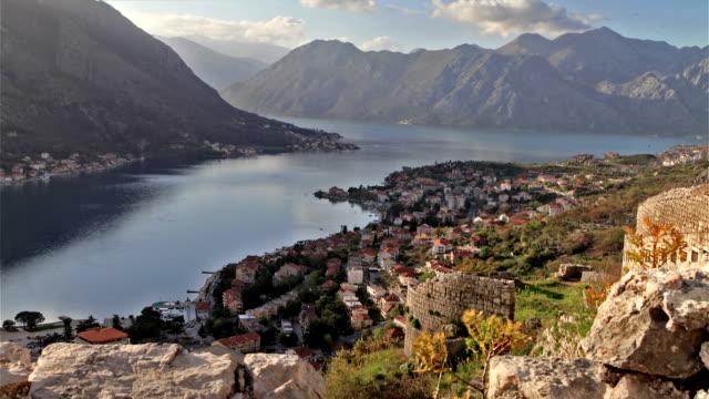 kotor city general view time lapse - montenegro stock videos & royalty-free footage