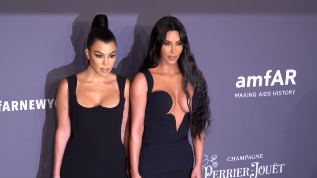 kourtney kardashian and kim kardashian at 21st annual amfar gala new york at cipriani wall street on february 06 2019 in new york city - gala stock videos & royalty-free footage