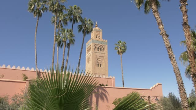 koutoubia minaret, unesco world heritage site, marrakech, morocco, north africa, africa - circa 12th century stock videos & royalty-free footage