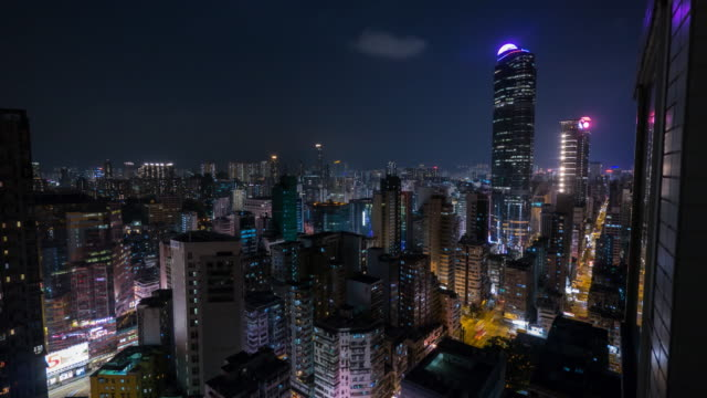 vidéos et rushes de kowloon, hong kong night skyline motion time lapse - mong kok