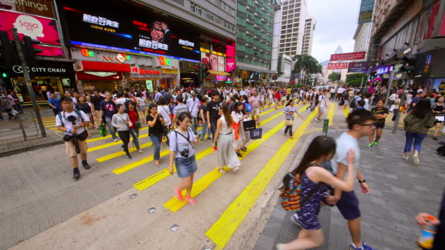 kowloon streets - pedestrian crossing stock videos & royalty-free footage