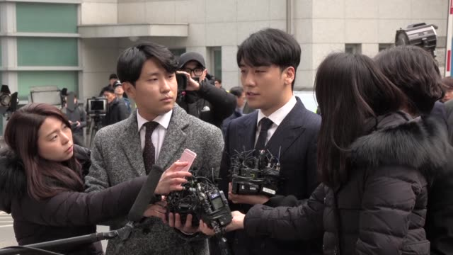 Kpop star Seungri arrives for questioning at Seoul Metropolitan Police Agency after becoming embroiled in a sexforinvestment criminal investigation...