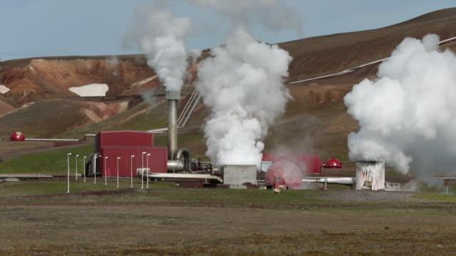 krafla geothermal station in northern iceland - gruppo medio di animali video stock e b–roll