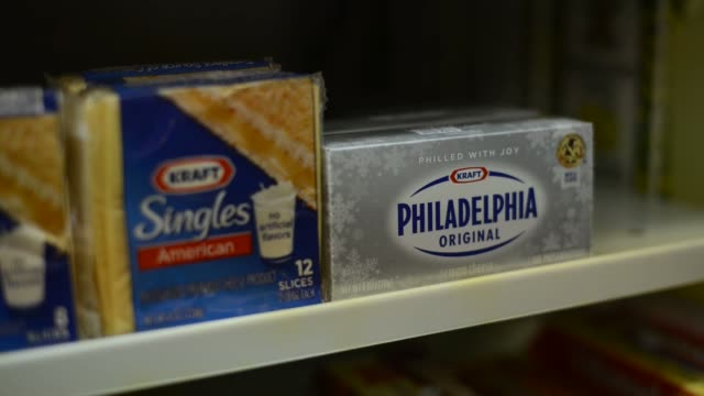 kraft foods group inc cream cheese cheese kraft singles food supermarket kraft food products on february 05 2013 in san francisco ca - kraft stock videos & royalty-free footage
