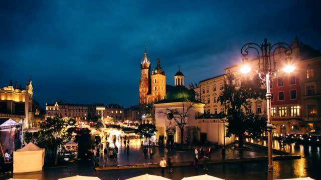 krakow by night - old town stock videos & royalty-free footage