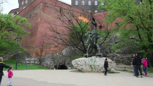 krakow, view of the wawel dragon's cave, a famous dragon in polish folklore - dragon stock videos & royalty-free footage