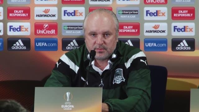 Krasnodar's head coach Igor Shalimov and midfielder Ilya Zhigulev attend a press conference the day before the UEFA Europa League Round of 32 second...