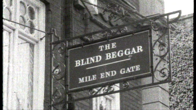 Recordings put on sale T25066801 London Whitechapel W archive footage of exterior of 'The Blind Beggar' pub where rival gangster George Cornell was...