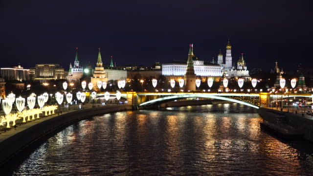 kremlin by moscow river at night time - river moscva stock videos & royalty-free footage