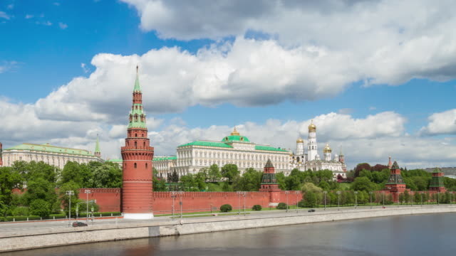 kremlin, moscow, russia. time lapse 4k moscow news background. - red square stock videos & royalty-free footage