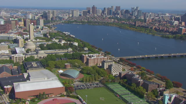 ws aerial pov kresge auditorium and mit campus with cityscape, harvard bridge on charles river / cambridge, massachusetts, united states - boston massachusetts stock videos & royalty-free footage