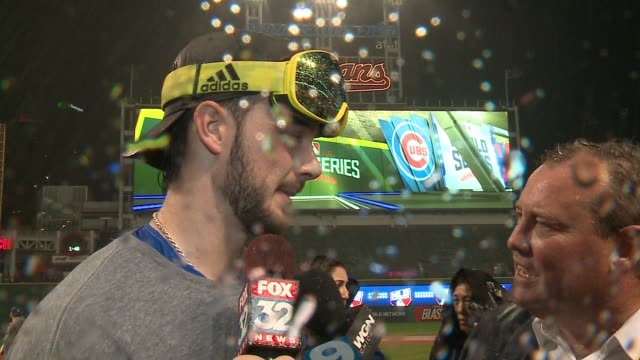 WGN Kris Bryant Interview at Progressive Field After World Series Win on Nov 2 2016