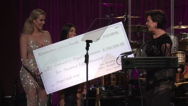 speech kris jenner talks about her late husband and presents a check to the foundation at 2016 angel ball at cipriani wall street on november 21 2016... - cheque financial item stock videos & royalty-free footage