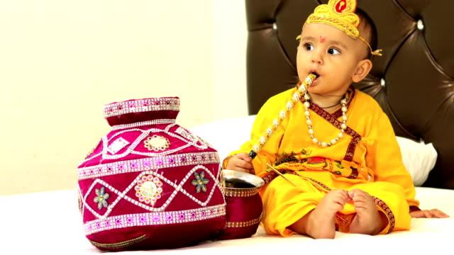 krishna janmashtami - baby boys stock videos & royalty-free footage