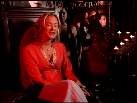 kristanna loken on the latex used in the photo shoots for fhm at the 'bloodrayne' junket at chateau marmont in west hollywood, california on december... - ラテックス点の映像素材/bロール
