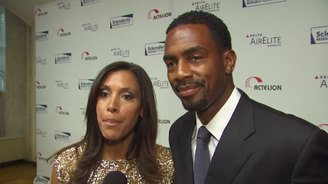 kristen and bill bellamy on their involvement in tonight's event on what they're looking forward to tonight and on who they think will win dancing... - bill bellamy stock videos and b-roll footage