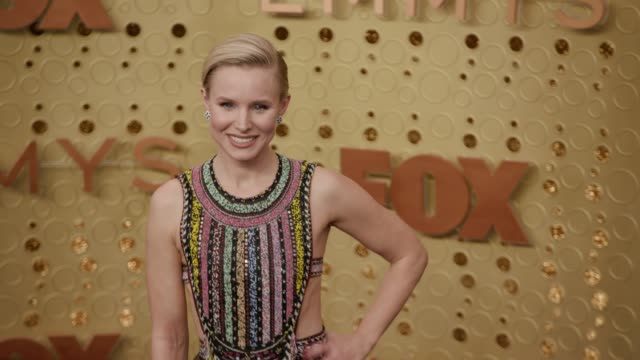 kristen bell at the 71st emmy awards - arrivals at microsoft theater on september 22, 2019 in los angeles, california. - emmy awards stock videos & royalty-free footage