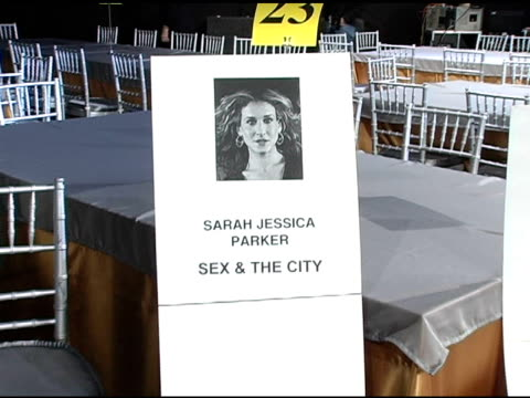 kristen davis sarah jessica parker and cynthia nixon's seat cards at the 2005 screen actors guild sag awards rehearsals at the shrine auditorium in... - cynthia parker stock videos & royalty-free footage